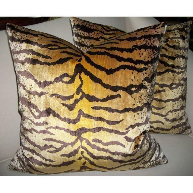 Contemporary Velvet Tigre Down Feather Pillows - Set of 2 For Sale - Image 3 of 5