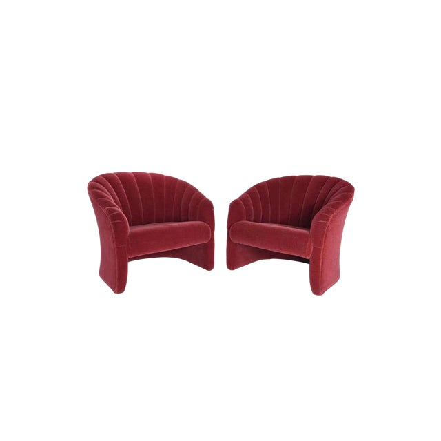 Barrel back lounge chairs, circa 1970. Original red mohair is in excellent condition.