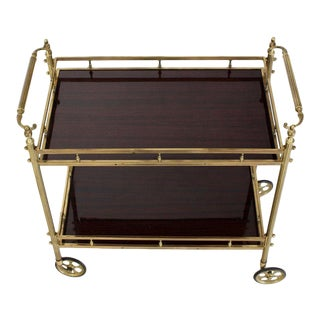 1970s Mid-Century Modern Solid Brass Gallery Lacquered Two Tier Serving Bar Cart For Sale