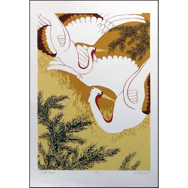 Asian style serigraph/silkscreen print of white cranes. Circa 1980s. Hand signed, titled and numbered by the artist in...