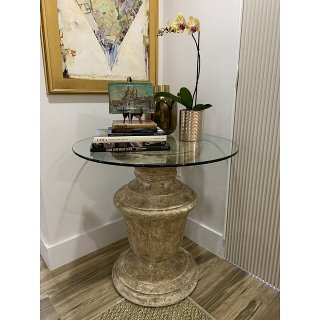 """1980s Plaster """"Stone"""" Baluster Center/Occasional Table Base For Sale - Image 10 of 12"""