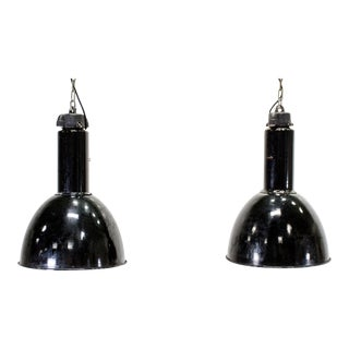 C.1940 European Black Industrial Factory Lights - a Pair For Sale