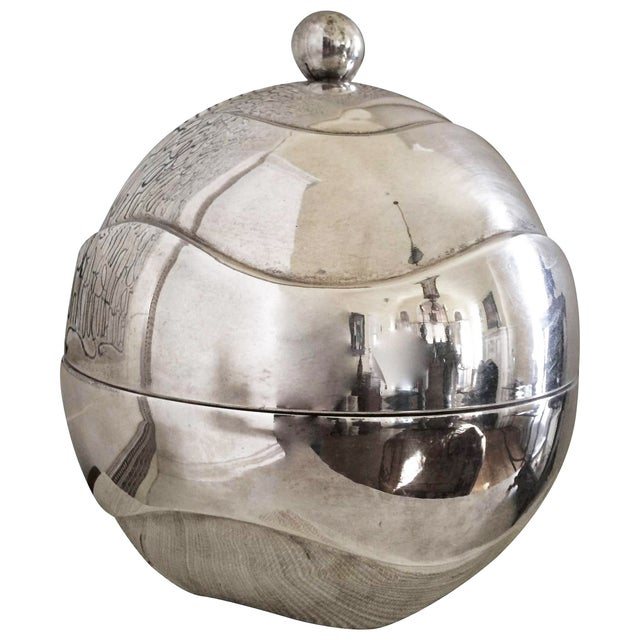 1960s Spherical Silver-Plate Ice Bucket - Image 1 of 3