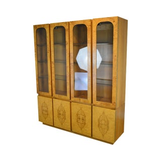 Milo Baughman for Lane Mid Century Modern Burl Wood China Cabinet For Sale