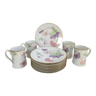 1980s Fitz & Floyd Pastel Butterfly Plate & Mug Set - Set of 12 For Sale