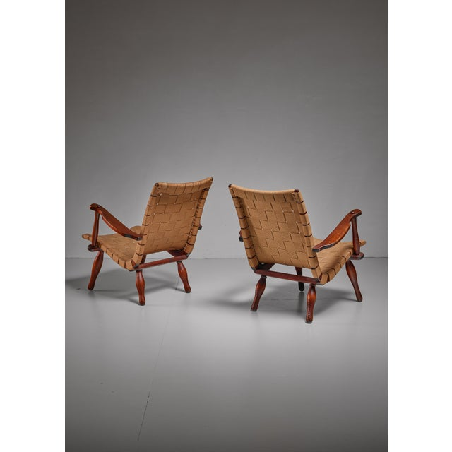 1940s Pair of Lounge Chairs with Webbed Seating, Sweden, 1940s For Sale - Image 5 of 5