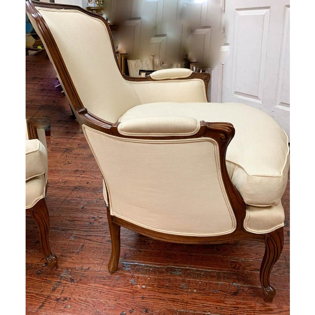 Pair of French Arm Chairs With Bow Tie Ottoman For Sale - Image 10 of 10