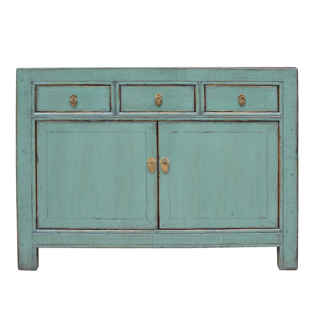 Distressed Rustic Teal Gray Credenza Sideboard Buffet Table Cabinet For Sale