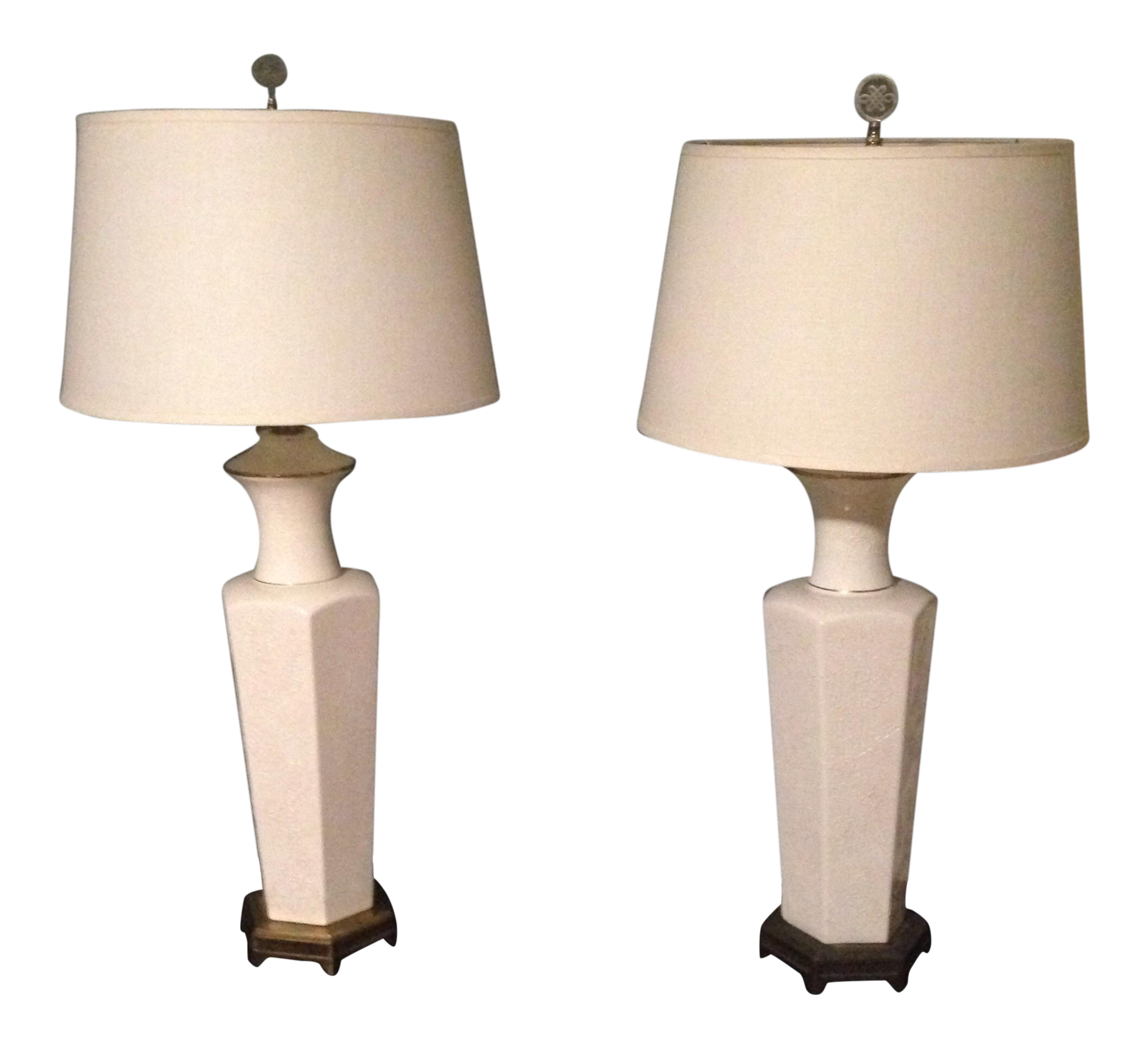 White Oriental Table Lamps   A Pair