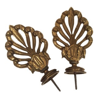 Vintage Ornamental Brass Curtain Finials - A Pair For Sale
