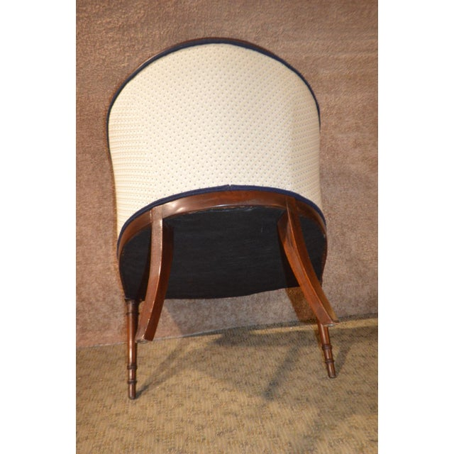 Vintage Sheraton Style Inlaid Mahogany Barrel Back Accent Chair For Sale In Philadelphia - Image 6 of 13