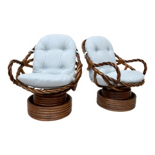 Swivel & Rocking Braided Bamboo / Rattan Lounge Chairs, Pair For Sale