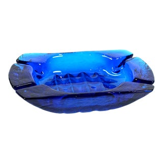 1950s Contemporary Hand Blown Blue Glass Ashtray For Sale