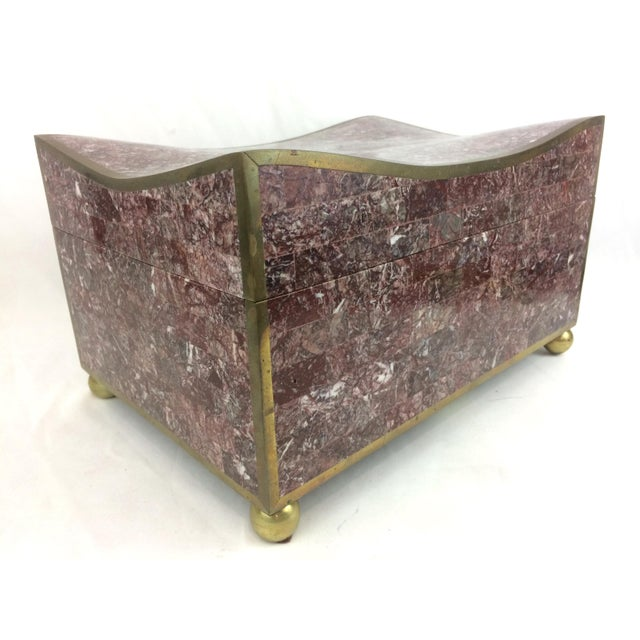 Maitland-Smith Tesselated Marble & Brass Box - Image 5 of 11