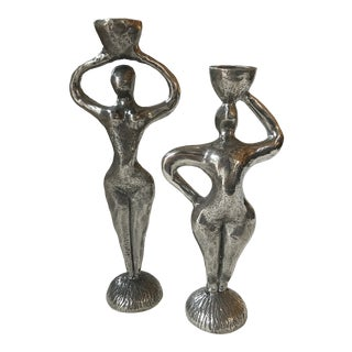 Set of 2 Patrick Meyer Pewter Candle Holders For Sale