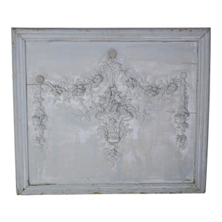 French Painted Carved Wood Panel W/ Garlands of Flowers C. 1930's For Sale