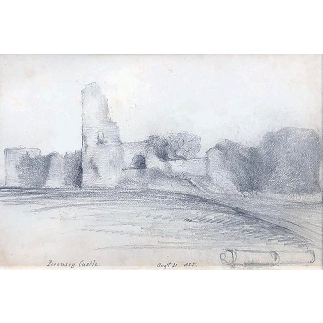 19th Century English Graphite Landscape Drawing of Pevensey Castle Ruins 1855 For Sale - Image 4 of 8