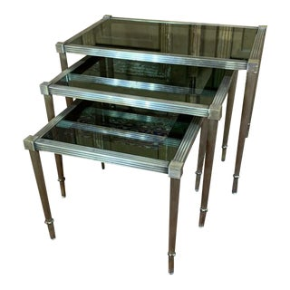 Maison Jansen Mid Century Silvered Brass and Glass Nesting Tables - Set of 3 For Sale
