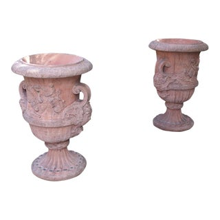 Pair of Large French Terra Cotta Colored Cast Stone Urns For Sale