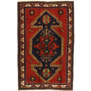 Late 19th Century Antique Russian Kazak Lambs Wool Rug - 5′ × 8′ For Sale