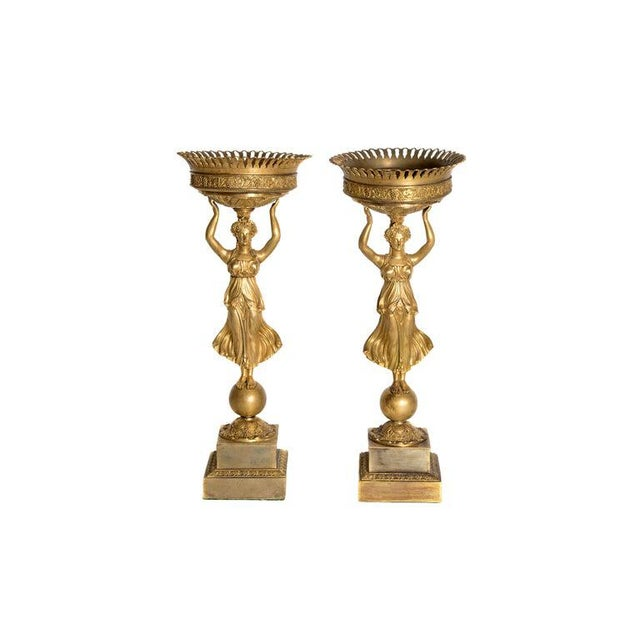 Early 19th Century Pair of French Empire Gilt Bronze Centerpiece Tazzzas For Sale - Image 13 of 13