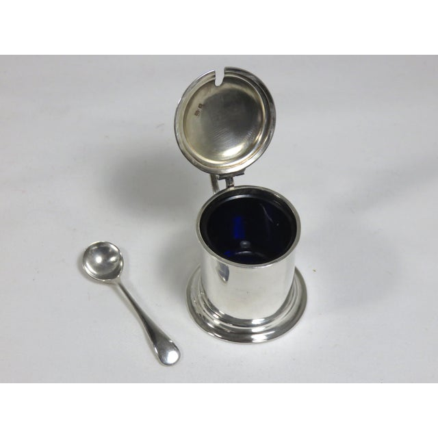 Sterling Silver And Cobalt Glass Mustard Pot With Spoon, Circa 1907. Classic Tankard Design With Birmingham, England...