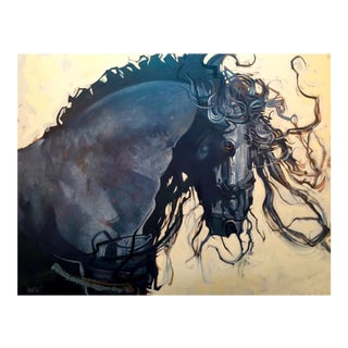 Friesian Stallion Giclee Print For Sale