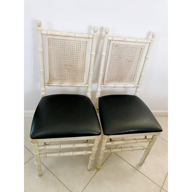 Vintage Folding chairs by STACKMORE, set of 2 Very stylish faux bamboo with cane backing, classic Palm Beach folding...