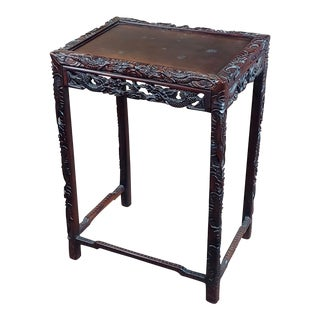 Chinese Antique Side Table Stand W/Carved Dragon For Sale