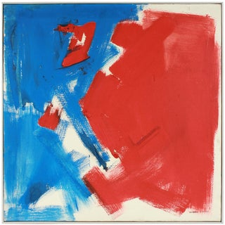 Large Abstract Expressionist Oil Painting in Red and Blue, Mid 20th Century For Sale