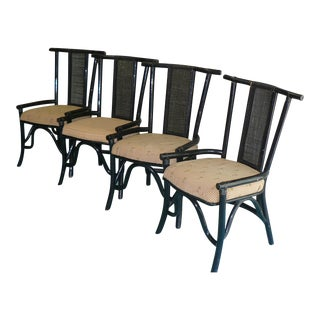 Vintage Black Bamboo Rattan Pagoda Chairs- Set of 4 For Sale