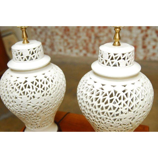White Blanc de Chine Porcelain Ginger Jar Table Lamps - A Pair For Sale - Image 8 of 9