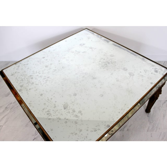 Glass Antique Art Deco Carved Wood and Mirrored Glass Coffee Occasional Table For Sale - Image 7 of 9