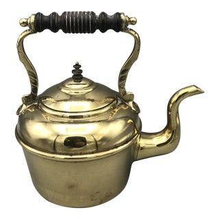 Antique Solid Brass Tea Kettle For Sale