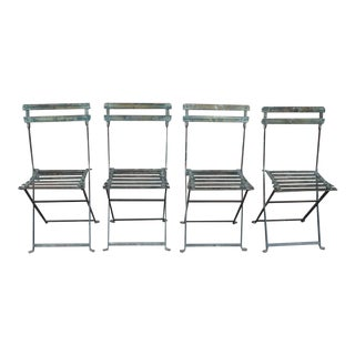 Early 20th Century Antique French All Metal Folding Bistro Chairs- Set of 4 For Sale