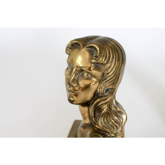 Mid 20th Century Female Brass Bookends For Sale - Image 5 of 11