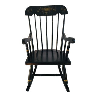 Child Country Rocker Stencil Appliqué Arm Chair Black Excellent For Sale