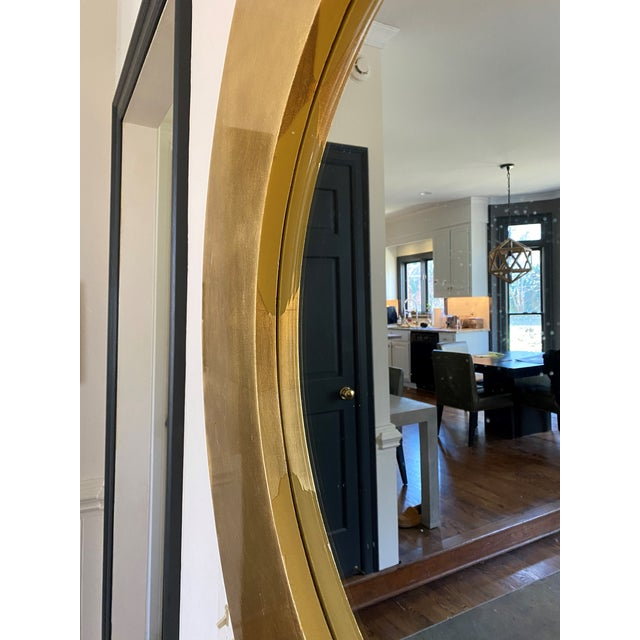 Modern Gold Leaf Round Mirror For Sale - Image 3 of 5