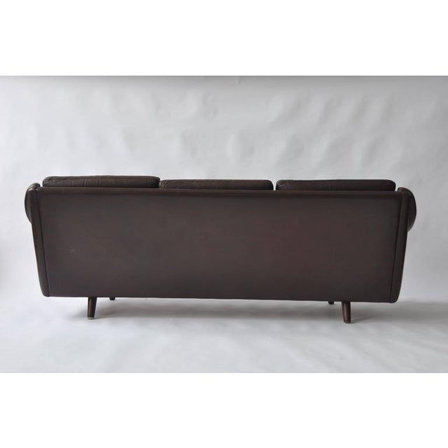 Animal Skin Pair of Aage Christiansen 1960s Danish Leather Sofas For Sale - Image 7 of 9
