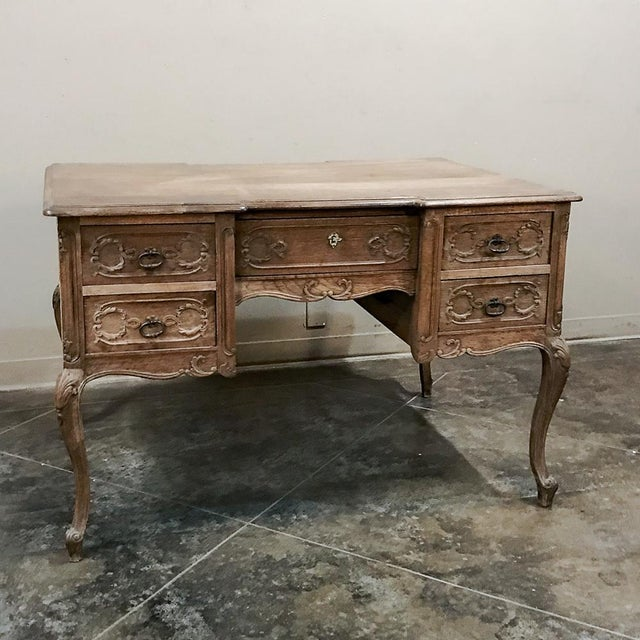 Antique Country French Louis XV Stripped Oak Desk For Sale - Image 4 of 12