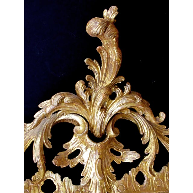 Traditional An Elegant and Superbly-Carved English George II Gilt-Wood Mirror With Elaborate Foliate Crest For Sale - Image 3 of 9