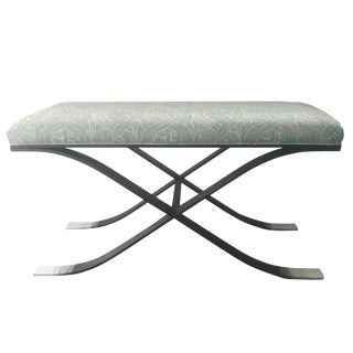 Italian Blackened Steel X-Base Upholstered Bench For Sale