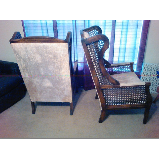 Lewittes High Wingback Chairs, Cane Sides - Pair - Image 5 of 11