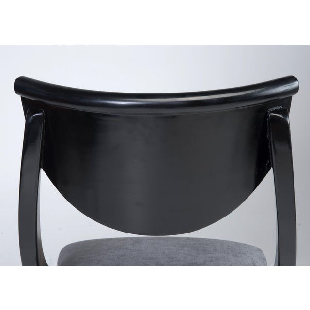 Klismos Dining Chairs Pietro Constantini Ello Black Lacquer Unmarked 1970s a Set of Six For Sale - Image 11 of 13