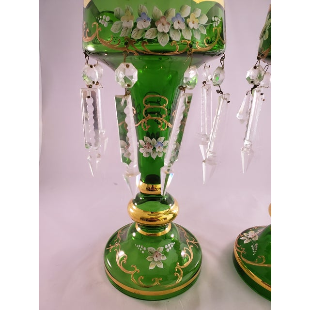 Vintage Green Glass Painted Luster Candle Holders With Prisms - a Pair For Sale In Los Angeles - Image 6 of 11