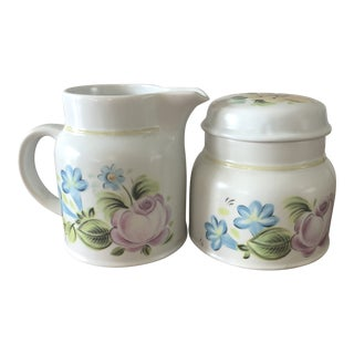 Vintage Royal Doulton Dubarry Pattern Sugar Bowl and Creamer - a Pair For Sale