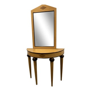 Biedermeier-Style Demilune Moon-Shaped Console Table and Mirror - 2 Pieces For Sale