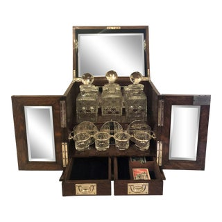 Antique English Gentleman's Traveling Tantalus and Game Box. For Sale