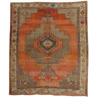 Vintage Turkish Mid-Century Modern Style Oushak Rug - 10′2″ × 11′11″ For Sale