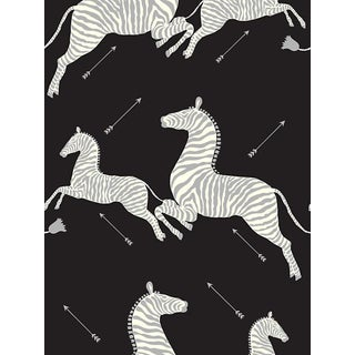 Sample, Scalamandre Zebras, Black & Silver Wallpaper For Sale
